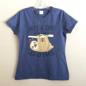 Port & Co. Sloth Graphic Tee Shirt Size S